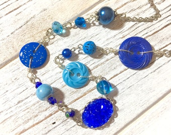 Bohemian Necklace in Blues, Vintage Assemblage Necklace, Vintage Button Necklace, Layering Necklace, Blue Beaded Necklace, KreatedByKelly