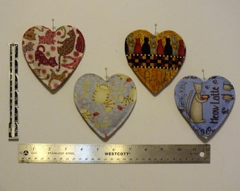 Kitty Prints Heart Sachets - Lavender & Peppermint