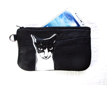 Angry Cat Phone or Pencil Case Black Leather