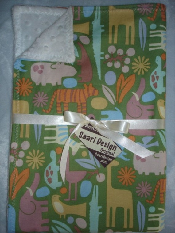 Zoo Animals boutique baby blanket Saari Design