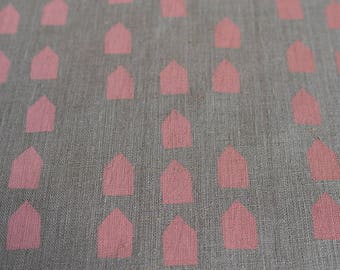 Fabric panel - Houses in pink ink on flax linen basecloth. Textiles designed and screen printed in Melbourne.
