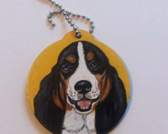 Basset Hound Dog Hand Painted Key Chain