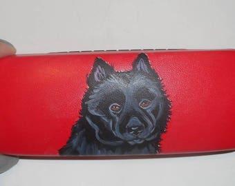 Schipperke Dog  Hand Painted Eyeglass Case