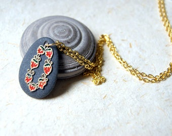 Black Beach Stone Necklace with Vintage Strawberry Charm  - FREE GIFT WRAP