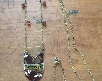 Brown and green collage necklace