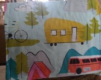 Camper Bike Bus Reusable Sandwich bag (2) Transportation FREE SHIPPING Lined laminate cotton