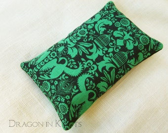 Green and Black Travel Tissue Holder - art nouveau peacock themed fabric pocket tissue cover, birds flowers plants birdcages feathers