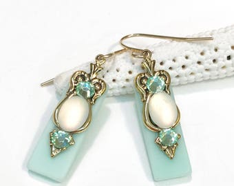 Icy Seafoam Stained Glass Earrings