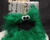 Gift Tag Furry Monster Chalkboard Ornament, reusable place card, teacher gift, Kelly green