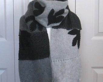 Felted Cashmere Scarf  . cashmere patchwork scarf . felted cashmere . made from repurposed Cashmere Sweaters . SASSAFRAS LEAF