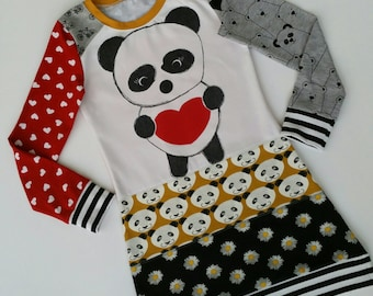 Size 8 upcycled girls Panda dress, girls clothing, children's clothing, kids clothes, kidswear, girl, Christmasgift, love, hearts
