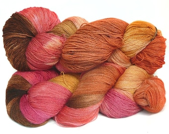 Handdyed BFL wool silk lace  weight yarn, 800m/100g hand dyed