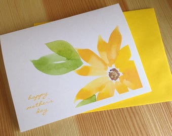 Sunflower Mother's Day Card - Watercolor Mother's Day Card - Floral Mother's Day Card - Botanical Watercolor Greeting Card