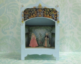 Miniature Toy Theater Vignette - Ladies in Garden