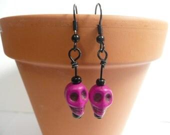 Skulls Jewelry, Skull Earrings, Fuchsia Purple-Red Black Boho Chic Earrings, Day of the Dead, Geek Sheek Earrings