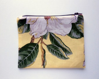 Yellow Fabric Floral Zipper Pouch, purse organizer, travel accessory, cord cozy, clutch bag, fabric bag, linen blend, Botanical Print Pouch