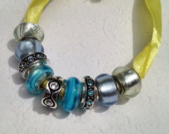 Lot of 9 Blue Glass and Silver Beads for Pandora or Chamilia Bracelets