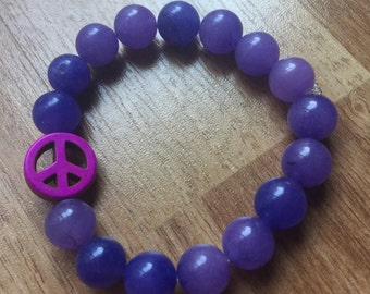 Violet Agate Bracelet with Purple Peace Sign