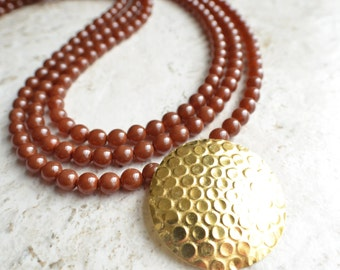 The Colleen- Brown Czech Glass and Copper Pendant Statement Necklace