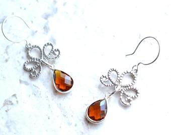Imperial - Brown Silver Filigree Statement Earrings