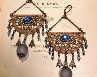 HUGE Bohemian Chandelier Earrings in Pale Blue Opal Glass