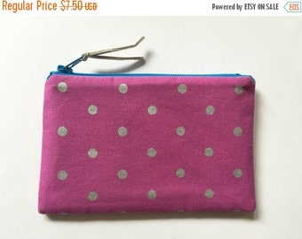 SALE - Pouch, Polka dot zipper pouch, coin purse, zipper bag