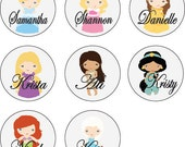 8 Personalized DISNEY PRINCESS Mirrors, Pinback Buttons, Magnets, Bottle Openers, Bachelorette, Bridesmaid Favor, Birthday Party Favor