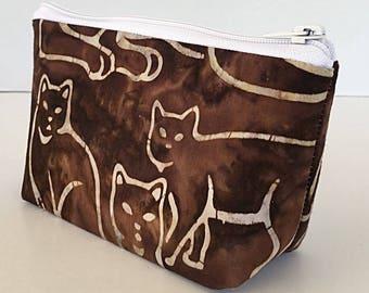 makeup bag, small cosmetic bag, cat lover, brown batik,  organizer pouch, gifts for women, zipper bag, deesdeezigns