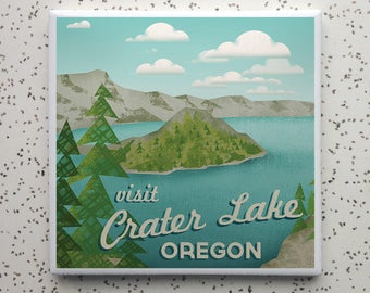 Beautiful Crater Lake Tile Coaster