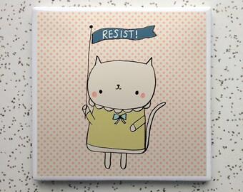 Resist Kitty Tile Coaster