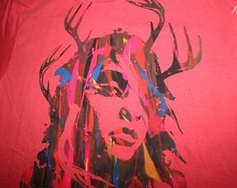 Shaman Girl tshirt, eco t-shirt, multicolor print, silkscreened t-shirt, OOAK t-shirt, red t-shirt, 1AEON multicolor print, Size womens L
