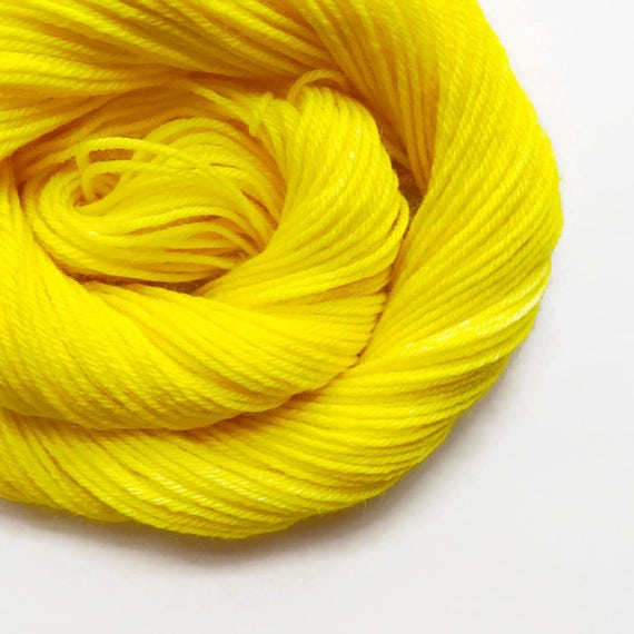 sun / hand dyed yarn / fingering sock dk bulky yarn / super wash merino wool yarn / single or ply / choose your base / bright yellow yarn