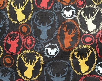 Weighted Blanket - Adult or Child - Deer and Squirrels Earthtones - Choose your weight (up to 15 lbs) and minky color