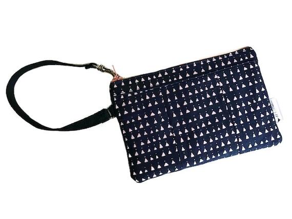 Triangles Blue Wristlet, Wallet Wristlet, Smartphone Wristlet, Wristlet Purse, Zipper Wallet