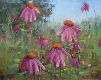 Intimate Wildflowers Spring Purple Coneflowers Original Pastel Painting Karen Margulis