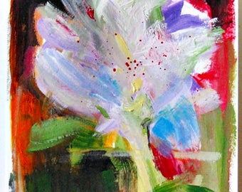 Abstract floral I, original painting, acrylic on paper