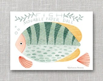 Fish  Articulated Paper Doll,  Illustrated Print, Puppet, Craft, Decoration, Scrapbooking