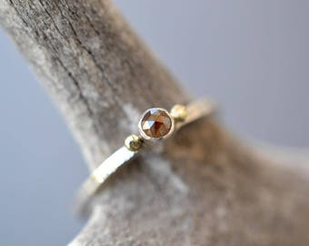 Rose Cut Diamond Solitaire- sterling silver and reclaimed yellow gold