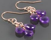 Genuine Amethyst Cluster Earrings. Three Stones. Rose Gold Filled Ear Wires. Natural Gemstones. February Birthstone.