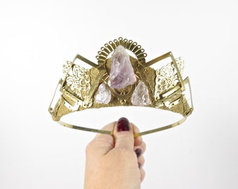 Amethyst and Gold Filigree Tiara - by Loschy Designs