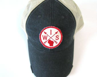 Distressed Snapback Trucker Hat - Wisconsin Patched Arrow Compass on Washed Black Hat