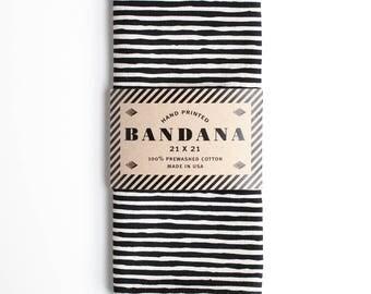 Black Striped Bandana, Hand Screen Printed and Soft