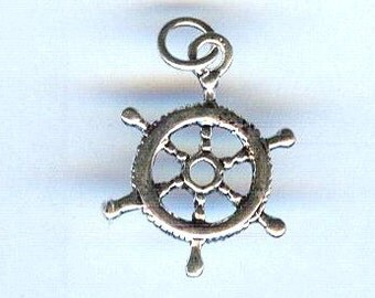 Silver Small Ships Helm Charm Pendant 20mm 1 piece
