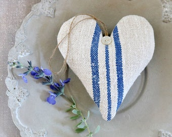 Vintage Grain Sack Lavender Sachet Heart, French Country Farmhouse Decor, Gift For Her