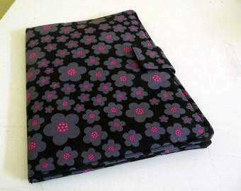 iPad Air 2 Cover, Soft Book Style Case, Black, Grey and Hot Pink Flowers