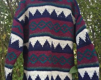 Vintage Wool Sweater/Ski Sweater/ Wool Sweater/ Boho Sweater/ Bohemian Sweater