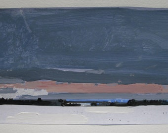 Sanctuary Field, Sundown, Original Winter Landscape Collage Painting on Paper, Stooshinoff