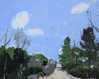 Forest Road, Original Spring Landscape Collage Painting on Panel, Stooshinoff