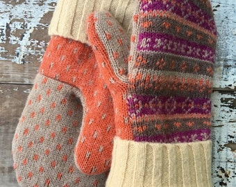 40% OFF- Wool Christmas Mittens- Upcycled Fashion-Yellow Fair Isle-Sweater Mittens