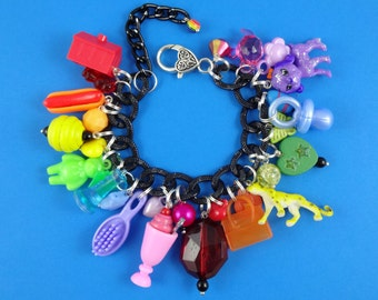 Rainbow Chunky Charm Bracelet - big black chain loaded with mini toys and trinkets - kitsch colourful, statement bracelet, Harajuku Decora